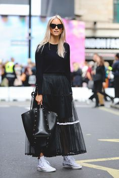 The Best Street Style At LFW SS17 #refinery29  http://www.refinery29.uk/2016/09/118817/street-style-lfw-ss17#slide-55  Black on black on black is always best....