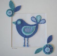pretty blue bird wool applique by Julie Fish Designs, via Flickr