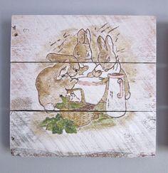 Peter Rabbit Siblings Handpainted Wood Sign by SarahAnnByler, $60.00