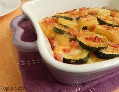Patate e zucchine al forno con formaggio filante-ricetta contorno