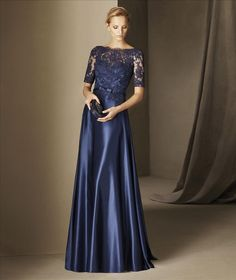 Pronovias Boada gorgeous a-line satin gown with a long sleeve lace bodice.