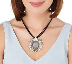 Or Paz Sterling Silver Sunflower Multi-Cord Necklace - Page 1 — QVC.com