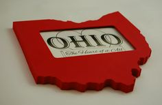 Show off your state pride with a handmade Ohio picture frame. Makes a great gift for a sports fan, friend missing home, or just to show off your love for Ohio. Ohio picture frame 4x6 by PineconeHome on Etsy, $29.00