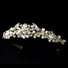 Gold Wedding tiara, Bridal rhinestone and pearl tiara, Gold Bridal headband, Wedding hair accessory, Freshwater pearl on Etsy, $104.25 AUD