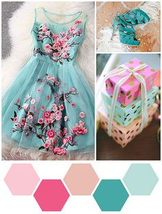 Color Me: Cherry Blossom, Raspberry, and Mint<---Palette Idea Colour Schemes, Color Combinations, Colour Palettes, Mode Inspiration, Color Inspiration, Color Style, Estilo Fashion, Spring Colors, Fashion Kids