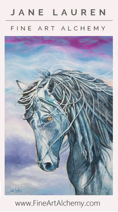 Mesteno - Nevada Stallion | Original Oil Painting by Jane Lauren | www.FineArtAlchemy.com
