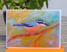 Blank Note Greeting Card - Unique Art Card - 5 x 7 Card Blank Inside - Red-breasted Nuthatch - Bird Lovers - Nature Lovers - Unique Art Card by CreateThriveGrow on Etsy
