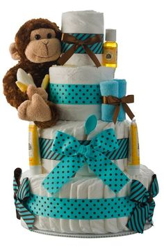 Little Monkey Baby Boy  Shower Diaper Cake from Cute Baby Shower Ideas