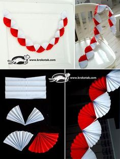 A white and red garland Colors of black, gold and white can be used for a Gatsby themed party. Recruit friends and family to help get the job done faster. Paper Decorations, Birthday Decorations, Christmas Decorations, Paper Rosettes, Paper Flowers, Diy For Kids, Crafts For Kids, Red Garland, Gatsby Themed Party