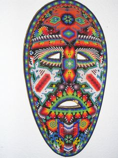 Unique Hand Beaded Carved Mask made by the Huichol Native American Indians / Ecclectic / FATHERS DAY Gift.
