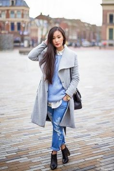 Women's Grey Coat, Light Blue Knit Oversized Sweater, White Dress Shirt, Blue Ripped Boyfriend Jeans