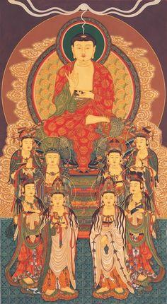 Korean Art, Asian Art, Amitabha Buddha, Buddhist Philosophy, Buddha Art, Goddess Art, Tibetan Buddhism, Japanese Painting, Religious Art