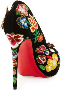 883eb3d70e3 Christian Louboutin Folklo Embroidered Velvet Red Sole Pump Heel Red Heels