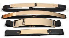 Elastic Mirror Metal Waist Belt Metallic Bling metal Gold plate Wide Obi Band
