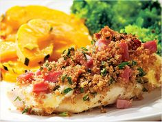 Quick Chicken Cordon Bleu   This easy take on chicken Cordon Bleu keeps the flavors the same, but skips the fussy layering and breading steps. Serve with delicata squash and broccoli.