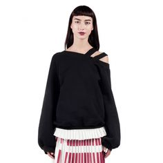 This Sonia sweatshirt features an asymmetrical collar with diagonal straps detail, broad long sleeves with ribbed cuffs and ribbed medium-length hem. Red Pattern, Grey Sweatshirt, Ruffle Sleeve, Fall Winter, Bell Sleeve Top, Women Wear, Sweatshirts, Long Sleeve, Sleeves
