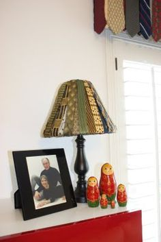 necktie lampshade made from the skinny end of ties