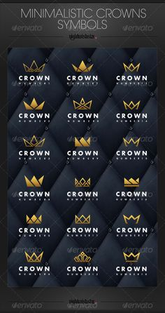 Minimalistic Crowns Symbols .This image is available on GraphicRiver. Minimalistic Crowns Symbols 18 crowns in set EPS file (ver.10) perfect to use as the logotype you can easily change gradients or colours Visit also Mesmeriseme and Monsterunderbed ! GraphicRiver Details: Created: 6 February 14