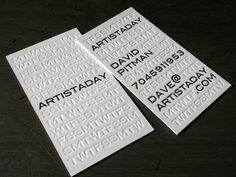 10 creative business card designs. Design by 485 inc for Artistaday; Found via Beast Pieces Black & white typography with inkless impression design