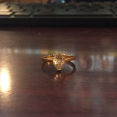 Vintage Goldtone Pearcut Ring 0 by AncientShip on Etsy