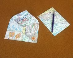 Envelop and card made out of maps