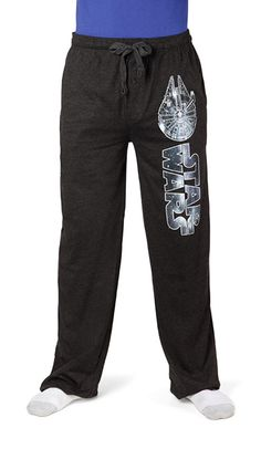 These comfy, soft heather grey pants feature the Star Wars logo and the Millennium Falcon running down the left leg.