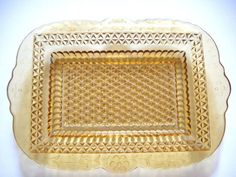 Amber Depression Glass Miss America Diamond Pattern Serving Tray-Measures approximately x x Deep and in excellent condition with just one tiny chip on the edge of one side-Scalloped edges has lovely floral pattern going around outside edge. My Glass, Amber Glass, Clear Glass, Glass Art, Vintage Kitchenware, Vintage Dishes, Vintage Items, Miss America
