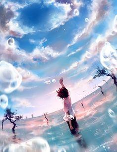 この画像の最もポピュラーなタグは次を含みます:animeとskyとwaterとart 、 rain