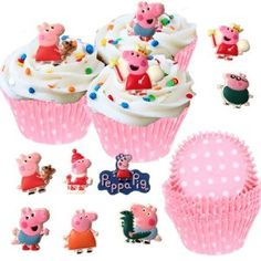 Amazon.com: 48 Peppa Pig Cupcake Favor Toppers & 50 Baking Cups - Party Set: Everything Else