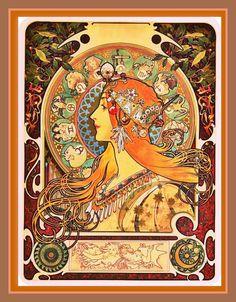 FESTIVAL SALE ON NOW!! ALFONSE MUCHA ZODIAC Vintage Print Art Nouveau by BadTigerDesigns