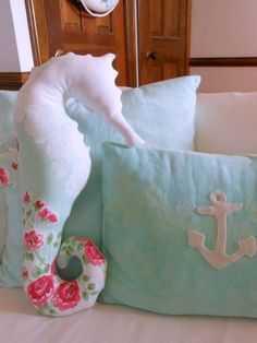 Set sail with a nautical nursery for girls Decorate your little girl's nursery with all of the things you love about the water. A nautical nursery is a sweet way to decorate in pink and white. Nautical Baby Nursery, Nursery Twins, Nursery Themes, Nursery Ideas, Sea Nursery, Nautical Pillows, Girls Nautical Bedroom, Horse Nursery, Baby Twins