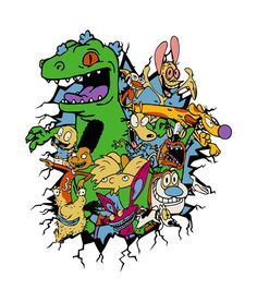 Rugrats Reptar Shirt Nickelodeon Graphic Tees is your new tee will be a great gift for him or her. I use only quality shirts such as gildan. Cartoon Character Tattoos, Cartoon Tattoos, Cartoon Characters, 90s Tattoos, Funny Tattoos, Rugrats, Cartoon Shows, Cartoon Art, 90s Art