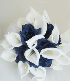 Silk Flower Wedding Bouquet Cream Calla Lily Navy Blue Champagne | eBay