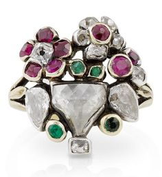 An 18th century diamond, ruby and emerald giardinetto ring