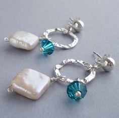 White Diamond Pearl Earrings  Swarovski by alisonkelleydesigns, $32.00