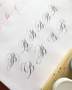 Lots of ovals on B. It's 24 more to go. Calligraphy Fonts Alphabet, Flourish Calligraphy, Calligraphy Worksheet, Calligraphy Tutorial, Tattoo Lettering Fonts, Hand Lettering Alphabet, Calligraphy Practice, Modern Calligraphy, Penmanship