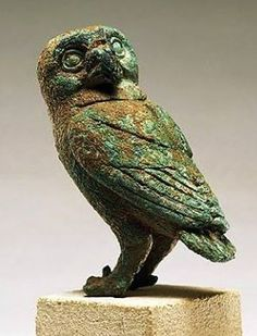 Bronze Owl, it was once held on the open palm of statue representing Athena - circa 5th century B.C, from ancient city of Cnidus - at the Art History Museum, Geneva