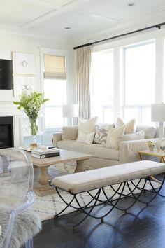 Living room. White, Neutral, Beige, Curtains, Sofa, Living Room, Decor, Bench Monika Hibbs.