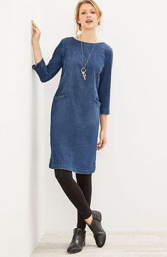seamed denim-stretch dress