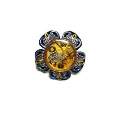 #298-Adjustable Steampunk Ring, Silver metal, Authentic watch back, Gears, Leather, Painted metal Filigree, designed by Cherie T. Barnes, $20.00