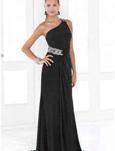 Chiffon Beaded One-Shoulder Strap Column Prom Dress with Sweep Train
