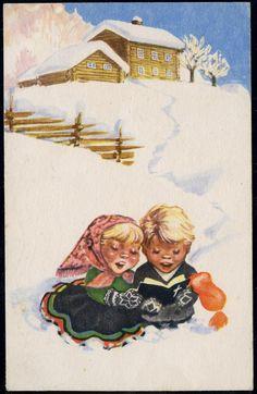 DAMSLETH, HARALD. Jente og gutt synger fra salmebok ute i snøen  Utg N. W. Damm & Søn N  Brukt 1942,