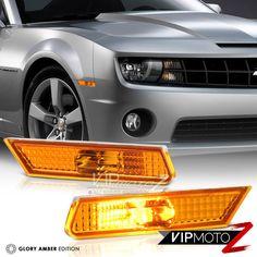 Driver /& Passenger Side VIPMOTOZ Full White LED Smoke Lens Front Side Marker Light Parking Lamp For 2010-2015 Chevy Camaro