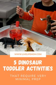 These 5 fun and easy dinosaur toddler play ideas require very minimal preparation and include science experiments, sensory bins, salt dough, and more! Toddler Play, Toddler Activities, Dinosaur Eggs, Salt Dough, Sensory Bins, Play Ideas, Science Experiments, Minimal, Mom