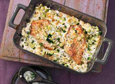 Mediterrane Putenschnitzel mit Feta und Zucchini