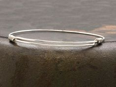 Sterling Silver Bracelet, Unisex Adjustable Bangle, Thin Sterling Wire Bangle Bracelet, Minimalist Silver Expandable Bracelet - pinned by pin4etsy.com