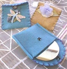 Fanciful Felt Pouches - These felt craft pouches are perfect for storing gift cards and pieces of jewelry.