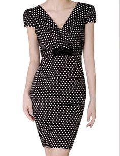 V-Neck Polka Dot Women Pencil Dress $110.00 by Vancaro
