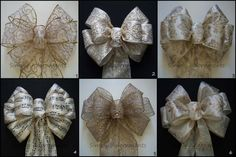 Gold Ivory Christmas Bow Ivory Gold Damask by SimplyAdornmentsss