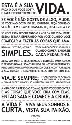 Holstee Manifesto português                                                                                           Mais